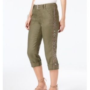 International Concept Linen Embroidered Cargo Pant